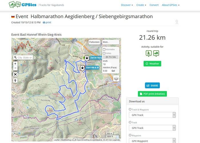 GPSies 7G-Halbmarathon-Strecke